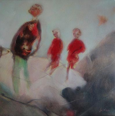 """Olivier LE NAN """"La belle ballade"""" huile sur toile 40 cm x 40 cm VENDU"""