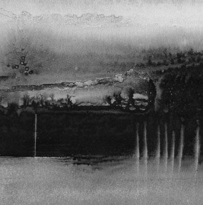 """Camille COUTURIER """"Encre n°13"""" encre de Chine sur papier marouflé sur bois 30 cm x 30 cm 300 €"""