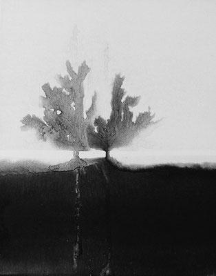 """Camille COUTURIER """"Encre n°18"""" encre de Chine sur papier marouflé sur bois 24 cm x 19 cm VENDU"""