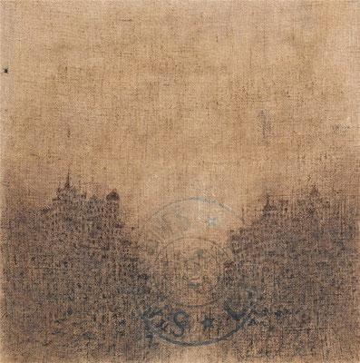 """Christian RONCERAY """"Cités endormies XVII"""" 100 cm x100 cm technique mixte sur toile"""