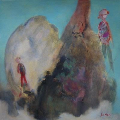 """Olivier LE NAN """"Grimpons là-haut"""" huile sur papier 37 cm x 37 cm (avec cadre 42,5 cm x 42,5 cm) 160 €"""