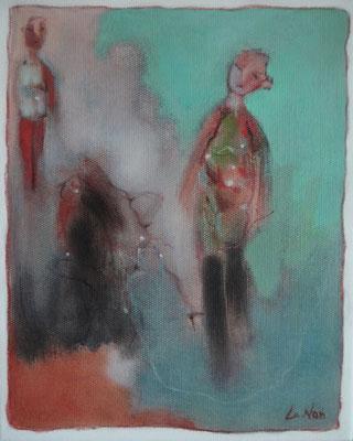 """Olivier LE NAN """"Dialogue"""" huile sur toile 27 cm x 23 cm 190 €"""