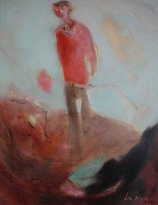 """Olivier LE NAN """"Le marcheur"""" huile sur toile 37 cm x 27 cm VENDU"""