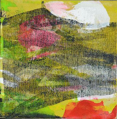 """Caty BANNEVILLE """"Bourgeonnement 5"""" 20 cm x 20 cm technique mixte sur toile 100 €"""