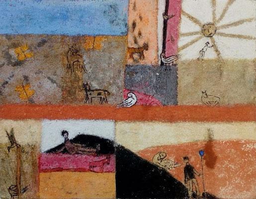 """Valérie TENÈZE """"Un jour à papillons"""" 23 cm x 29,5 cm (encadrée d'un passe-partout 30 cm x 40 cm) technique mixte sur papier et sable 280 €"""