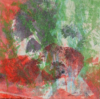 """Caty BANNEVILLE """"Bourgeonnement 6"""" 20 cm x 20 cm technique mixte sur toile 100 €"""