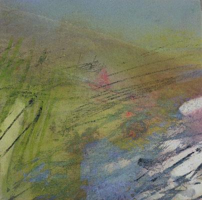"""Caty BANNEVILLE """"Coup de vent dans le bois"""" 30 cm x 30 cm encres et pigments sur toile de lin 150 €"""