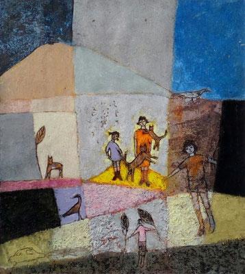 """Valérie TENÈZE """"J'aime les chats"""" 25,5 cm x 23 cm (avec cadre 40 cm x 30 cm) technique mixte sur papier et sable 280 €"""