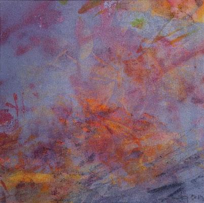 """Caty BANNEVILLE """"Changement de climat"""" 30 cm x 30 cm encres et pigments sur toile de lin 150 €"""