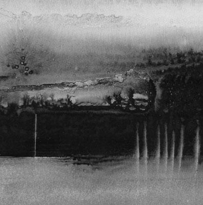 """Camille COUTURIER """"Encre n°13"""" 30 cm x 30 cm encre de Chine sur papier marouflé sur bois 300 €"""