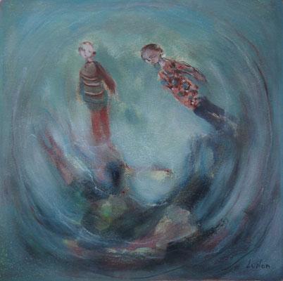 """Olivier LE NAN """"Tourbillon"""" huile sur papier 26 cm x 26 cm (avec cadre 33 cm x 33 cm) VENDU"""