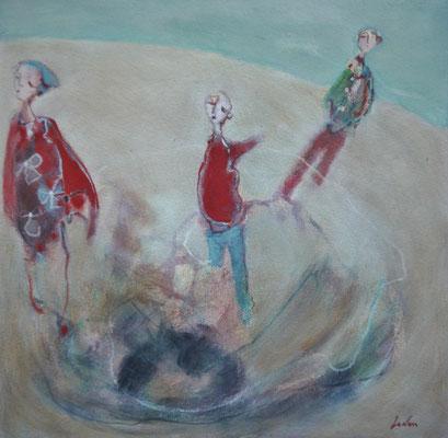 """Olivier LE NAN """"Jeux de plage"""" huile sur papier 26 cm x 26 cm (avec cadre 33 cm x 33 cm) 95 €"""