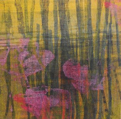 """Caty BANNEVILLE """"Compagnie des pollens"""" 25 cm x 25 cm encres et pigments sur toile de lin 130 €"""