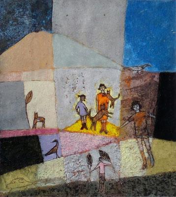 """Valérie TENÈZE """"J'aime les chats"""" 25,5 cm x 23 cm (encadrée d'un passe-partout 40 cm x 30 cm) technique mixte sur papier et sable 280 €"""