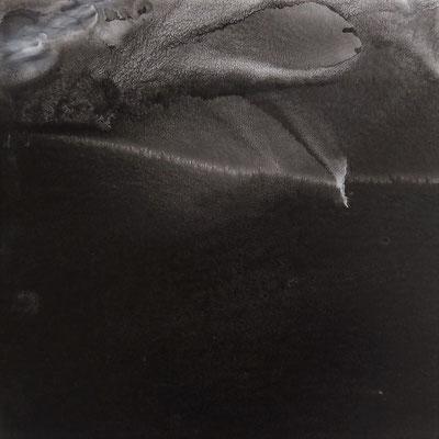 """Camille COUTURIER """"Espace 14"""" encre de Chine sur papier marouflé sur bois 30 cm x 30 cm VENDU"""