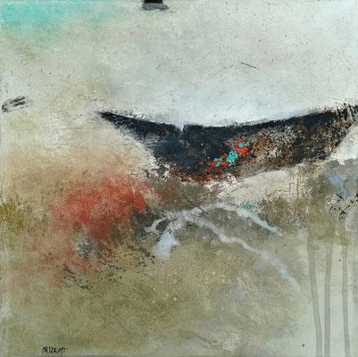 """Isabelle MALMEZAT """"Nautilus (861)"""" 30 cm x 30 cm technique mixte sur toile 350 €"""