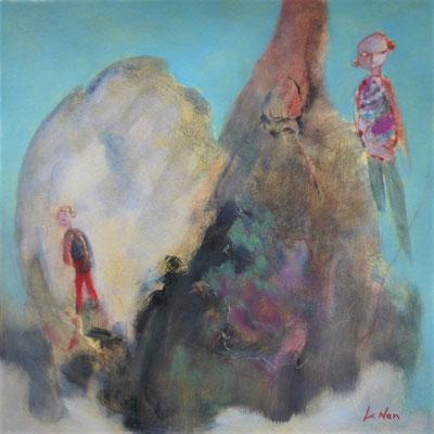 """Olivier LE NAN """"Grimpons là-haut"""" 37 cm x 37 cm (avec cadre 42,5 cm x 42,5 cm) huile sur papier 160 €"""