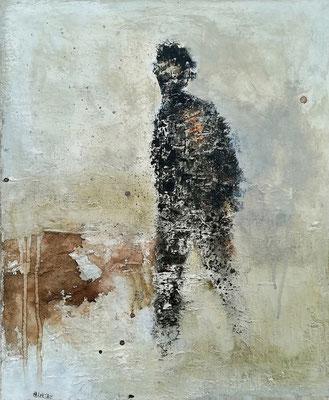 """Isabelle MALMEZAT """"In the wind""""  46 cm x 38 cm technique mixte sur toile encadrée tasseaux fins 500 €"""