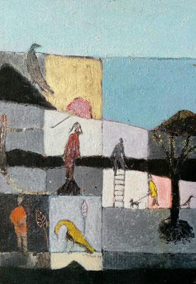"""Valérie TENÈZE """"Promenade du soir"""" 33 cm x 24 cm peinture sur bois 370 €"""