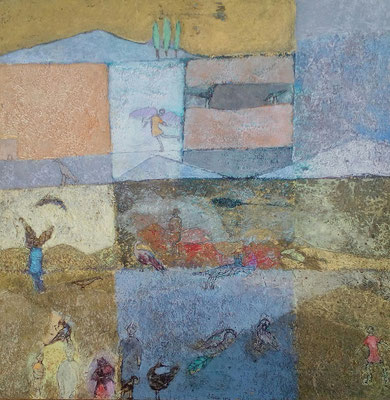 """Valérie TENÈZE """"Un ange bleu"""" 45 cm x 45 cm technique mixte sur bois 700 €"""