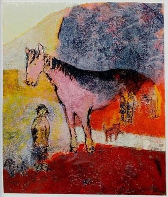 """Valérie TENÈZE """"Le cheval rose"""" 19 cm x 16,5 cm (encadrée d'un passe-partout 43 cm x 33 cm) technique mixte sur papier 250 €"""