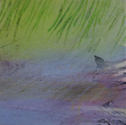 """Caty BANNEVILLE """"Coup de voile sans la voile"""" 30 cm x 30 cm encres et pigments sur toile de lin 150 €"""