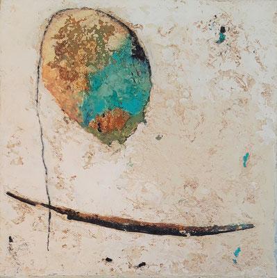"""Elisabeth Gore """"Flottant"""" 20 cm x 20 cm technique mixte sur toile 200 €"""