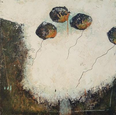 """Elisabeth Gore """"Plus loin"""" 40 cm x 40 cm technique mixte sur toile VENDU"""