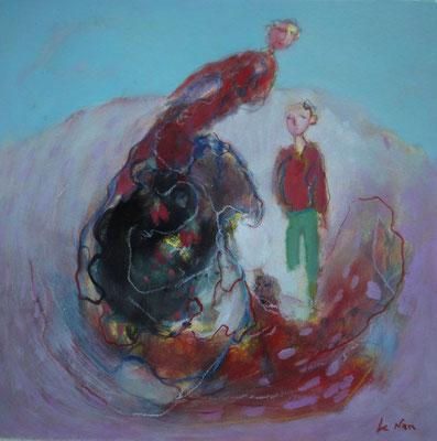 """Olivier LE NAN """"L'enfant lumineux"""" huile sur papier 26 cm x 26 cm (avec cadre 33 cm x 33 cm) VENDU"""