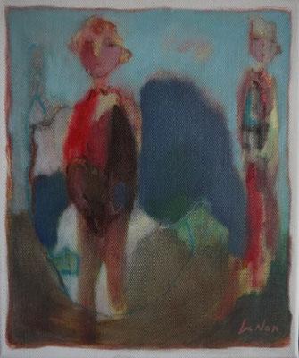 """Olivier LE NAN """"La roche bleue"""" huile sur toile 27 cm x 23 cm 190 €"""