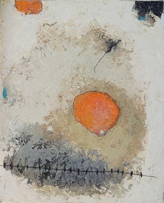 """Elisabeth Gore """"Globules de vie"""" 27 cm x 22 cm technique mixte sur toile 250 €"""