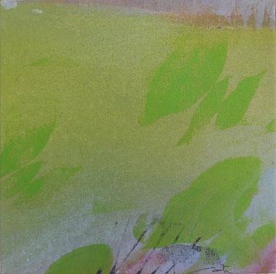 """Caty BANNEVILLE """"Changement de climat 1"""" 30 cm x 30 cm encres et pigments sur toile de lin 150 €"""