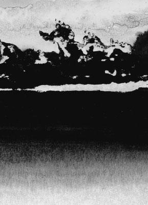 """Camille COUTURIER """"Encre n°8"""" encre de Chine sur papier marouflé sur bois 29,7 cm x 21 cm 200 €"""