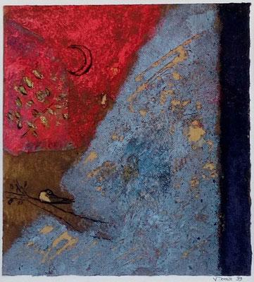 """Valérie TENÈZE """"Une branche"""" 14 cm x 13 cm (encadrée d'un passe-partout 35 cm x 29 cm) technique mixte sur papier et sable 200 €"""