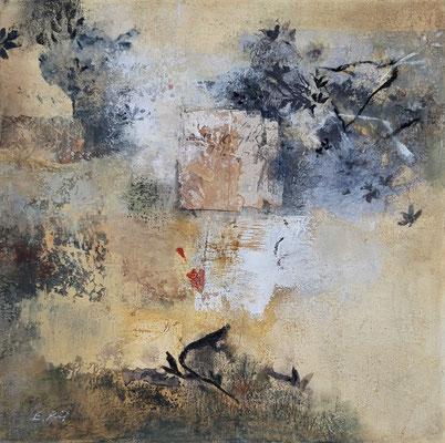 """Elisabeth POIRET """"Sans titre 190907"""" 50 cm x 50 cm technique mixte sur toile 625 €"""