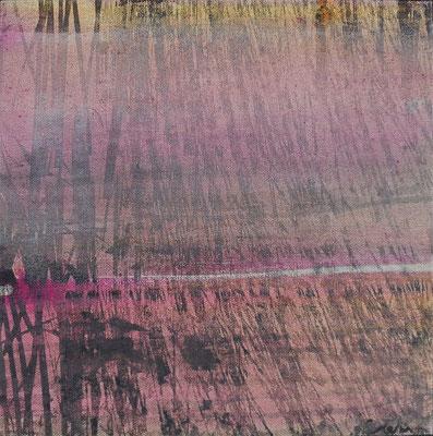 """Caty BANNEVILLE """"Quelles brindilles"""" 30 cm x 30 cm encres et pigments sur toile de lin 150 €"""