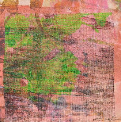 """Caty BANNEVILLE """"Bourgeonnement 3"""" 20 cm x 20 cm technique mixte sur toile 100 €"""
