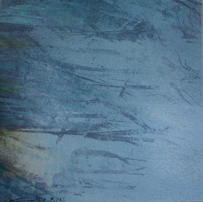 """Caty BANNEVILLE """"En attendant la neige"""" 30 cm x 30 cm encres et pigments sur toile de lin 150 €"""