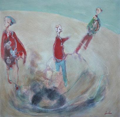 """Olivier LE NAN """"Jeux de plage"""" 26 cm x 26 cm (avec cadre 33 cm x 33cm) huile sur papier 95 €"""