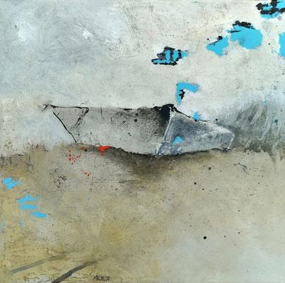 """Isabelle MALMEZAT """"Nautilus (860)"""" 30 cm x 30 cm technique mixte sur toile 350 €"""