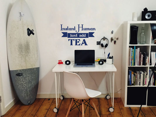 Instant Human just add tea humour wall art sticker