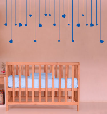 Hanging hearts perfect for a nursery wall art sticker.