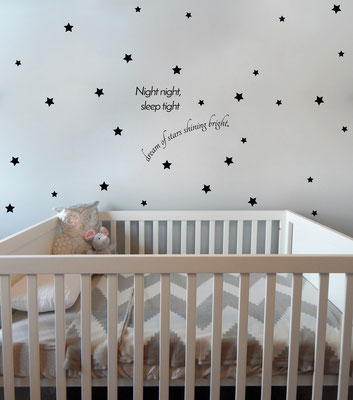 Night night, dream of stars shining bright, with star stickers to decorate around the room.