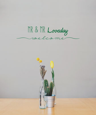 Mr & Mr Loveday welcome wall art sticker in a kitchen.
