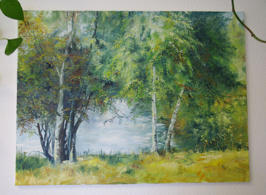 Birken am Weiher (80 x 59,5 cm)