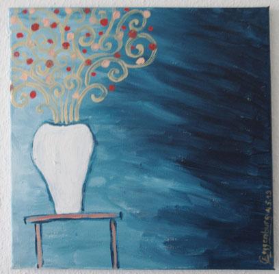 Blumenvase in blau (39,5 x 39,5 cm)