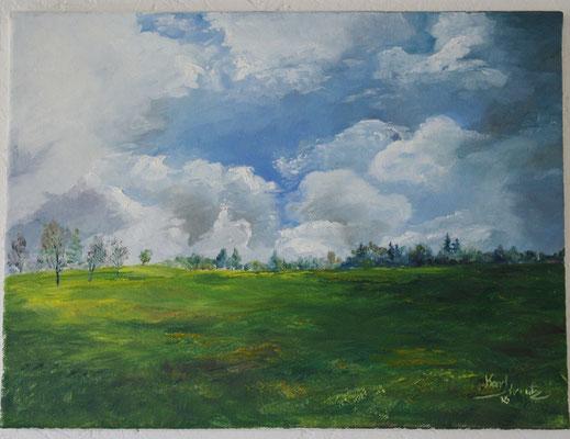 Wolken über dem Feld (40 x 30 cm: 300 Euro)