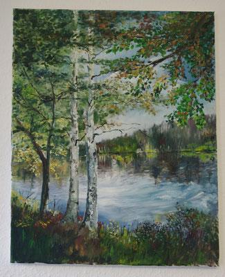 Birken vor dem See (40 x 50 cm: 320 Euro)