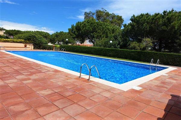 Имеет две комнаты, зал, кухню, свой садик, большую террасу (15 м2) и бассейн в комплексе