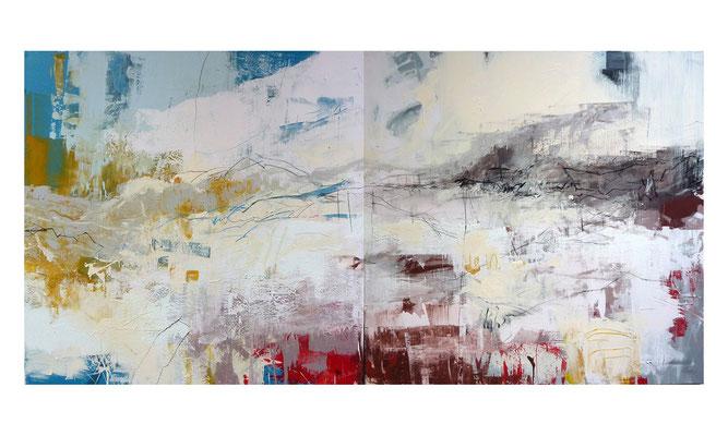 Sommerland 1 | 2014 | Acryl auf Leinwand | 2-teilig, 120 x 240 cm